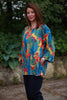 India Cotton Top in Deep Turquoise print Size 2 only