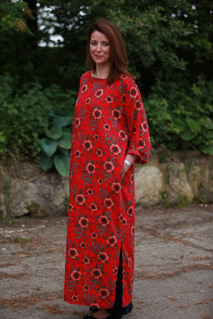 India Cotton Kaftan in Red Flower Size 2 only