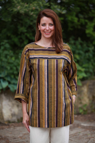 India striped Top in Khaki stripe