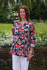 Nepal Top in Navy/red floral  Size 12/14 only