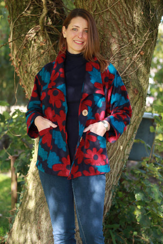 Woodstock short Jacket in Navy/Petrol/Red