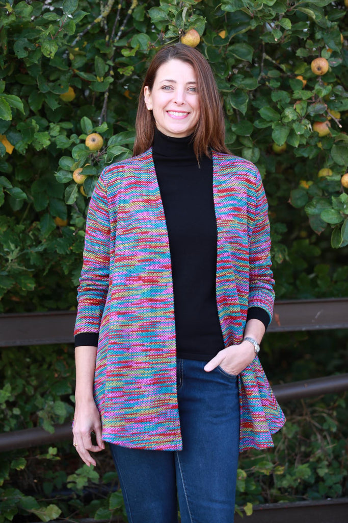 Lindley swing Cardigan in pink/red multi