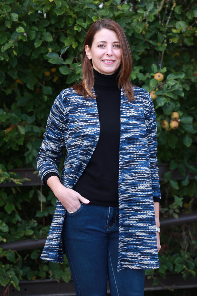 Lindley swing cardigan in blue/black  sizes14/16  18/20 and 20/22