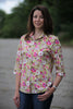 Tara  Floral Shirt in Gold cerise print