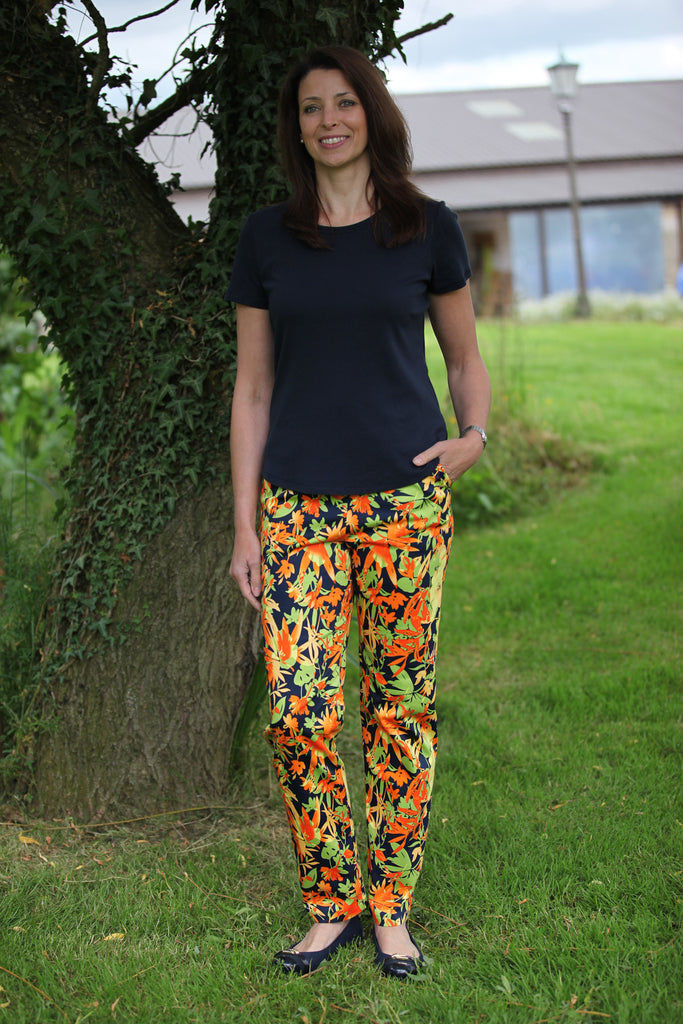 Carnival Summer Trousers in Navy/leaf/tangerine.