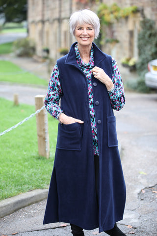 Calder sleeveless Coat in Navy