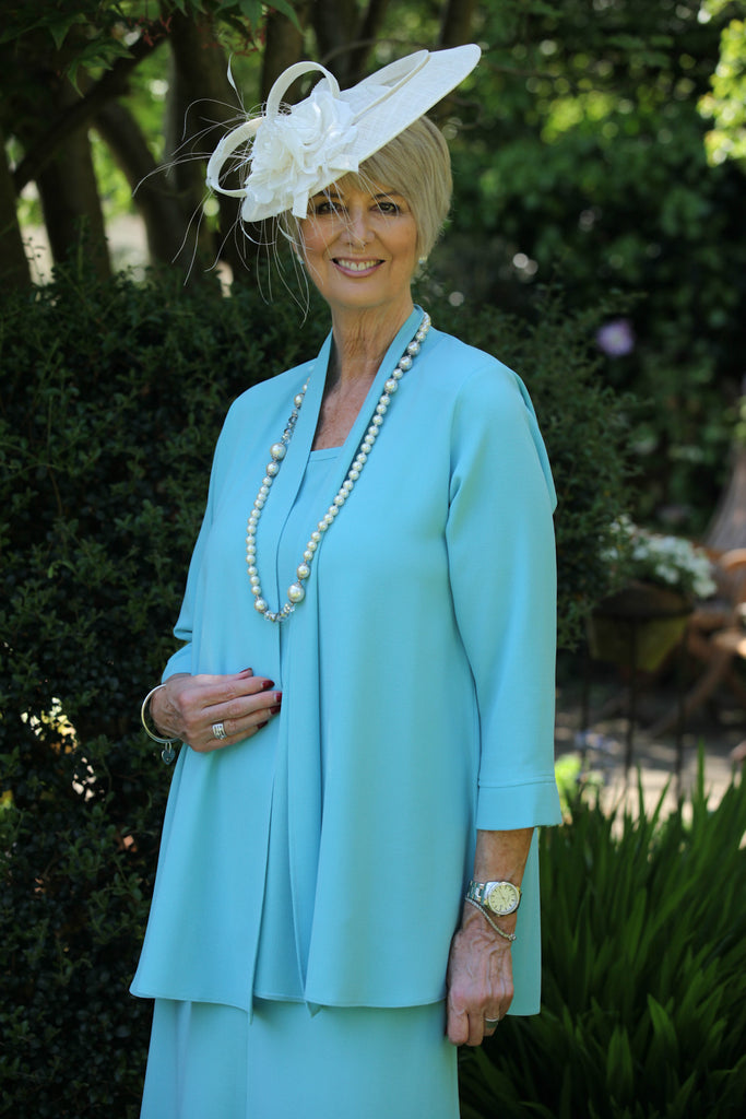 Camelia Crepe Jacket in Duck egg blue Sizes 14 and 24 only