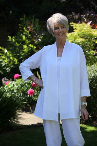 Camelia Crepe Jacket in White and Cream Size 14 and 22/24
