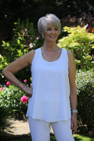 Camelia Crepe Vest in White  and Cream