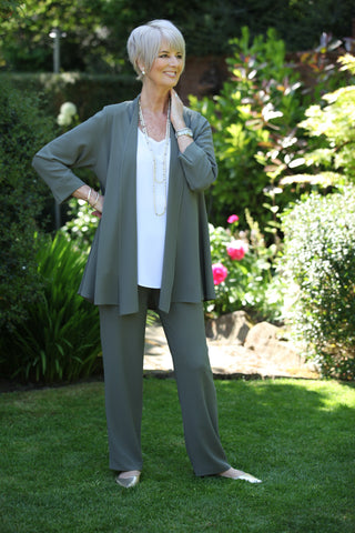Camelia Crepe Trousers in Soft Sage