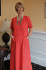 Morocco Dress in Deep Pink  Terracotta and Mango