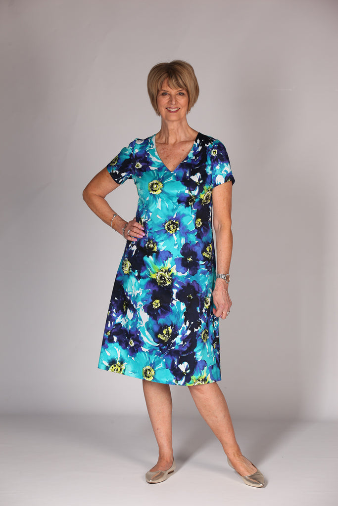 Gina A line Dress  - Navy/turquoise Size 12 only