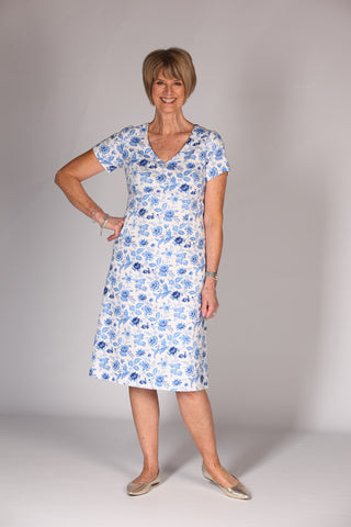 Lizzie A line Dress  - Cornflower
