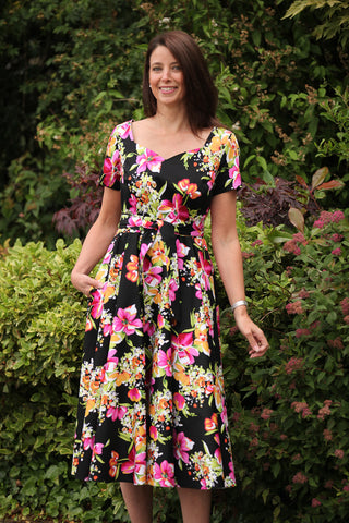 Kate Floral Dress - Black/pink