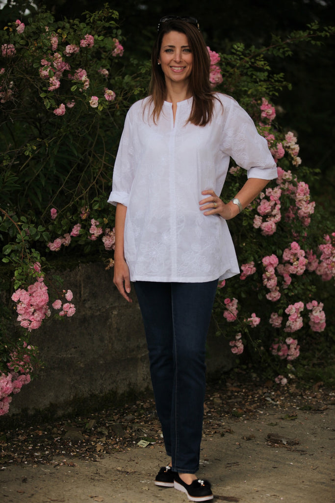 Embroidered Cotton Swing Top in White