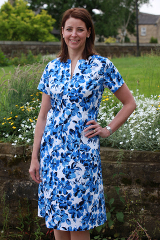 Lindsey Dress in Blue/white