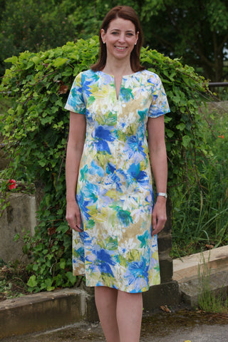 Lindsey Dress in Blue/lime and white