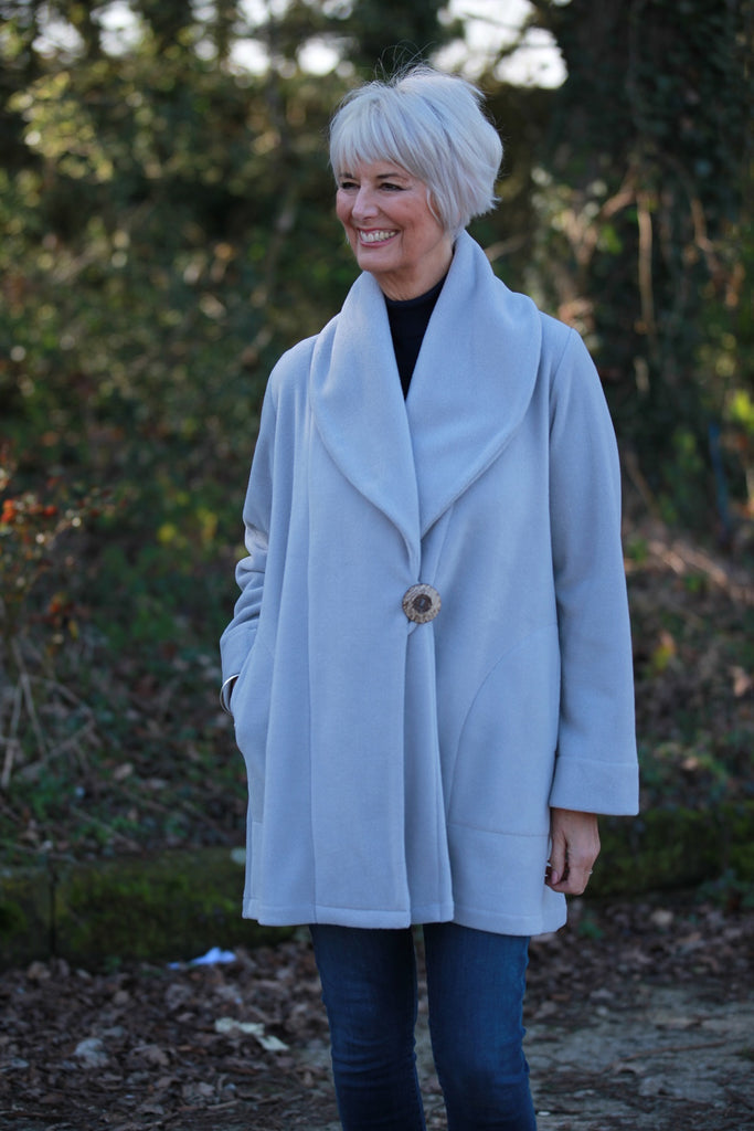 Helmsdale Fleece Coat in  Silver Grey and Black