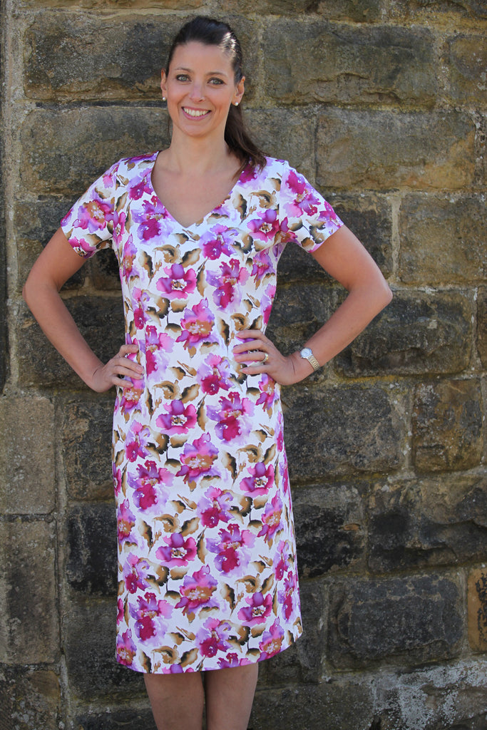 Watercolour Peony A line Dress