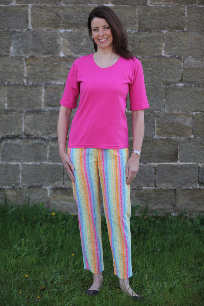 Calypso Seersucker Trousers Candy stripe