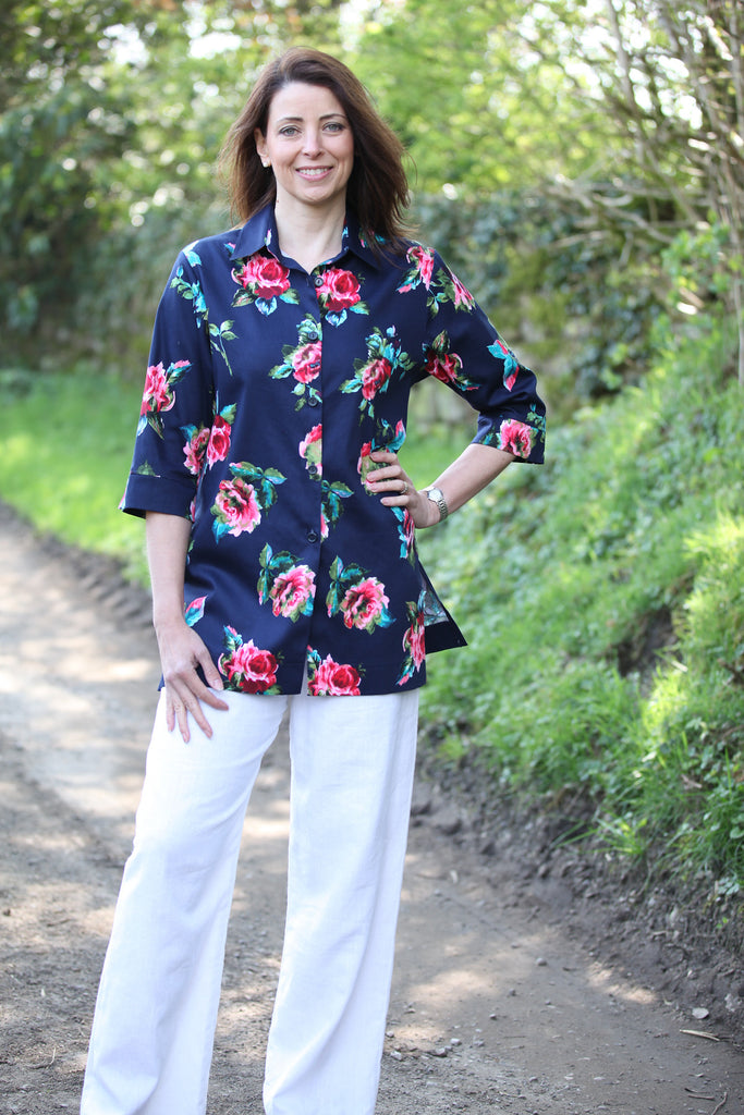 Rimini long shirt Navy floral