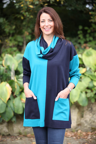 Joanna Oversized Tunic in Navy/Petrol
