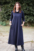Weekender Long Jersey Dress  in Navy - Cowl neckline