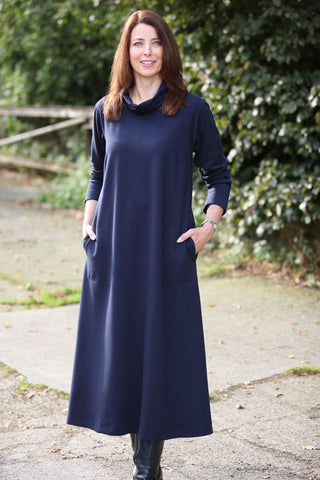 Weekender Long Jersey Dress  in Navy and Grape - Cowl neckline