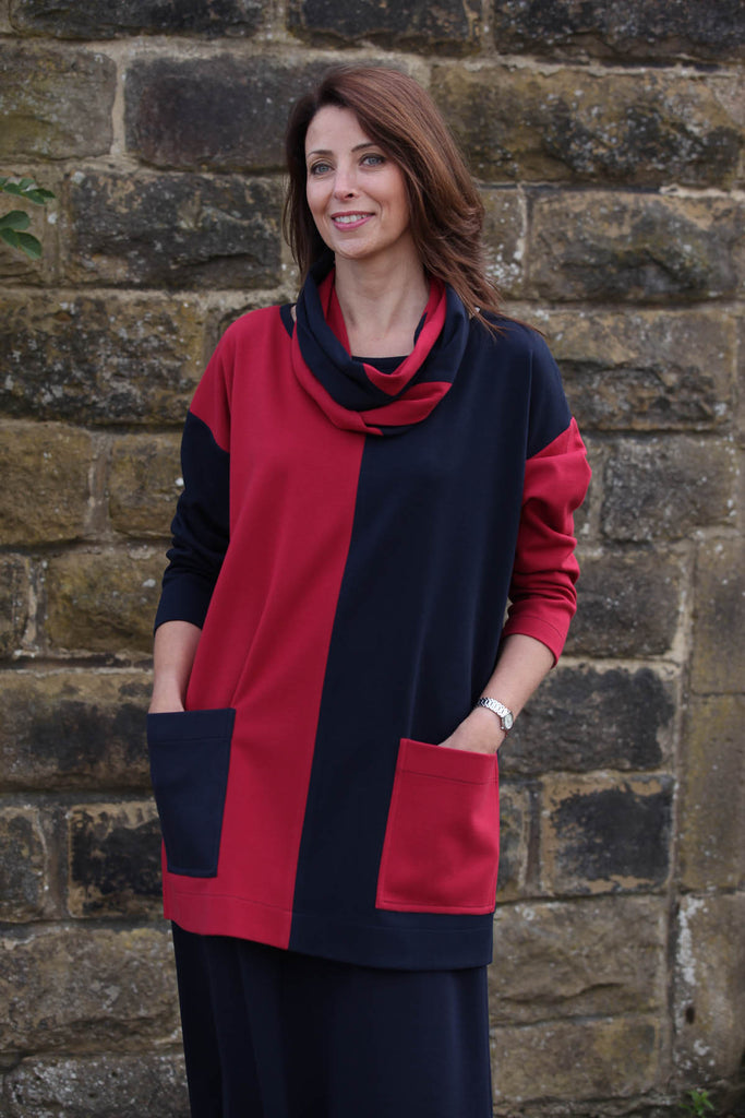 Joanna Oversized Tunic in Navy/Claret