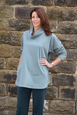 Eva Jersey Swing Top in Soft Sage and Navy