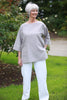 India oversized top in Grey and Terracotta
