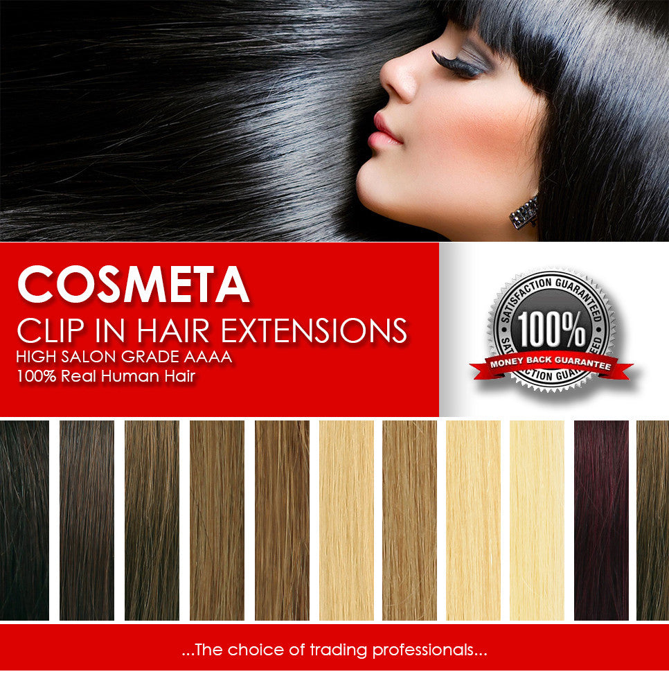 "COSMETA Premium CLIP IN 18"" hair extensions 100% Remy Indian AAAA - Straight"