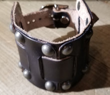 Load image into Gallery viewer, Black Wrist Cuff w/Gun metal Dome rivets