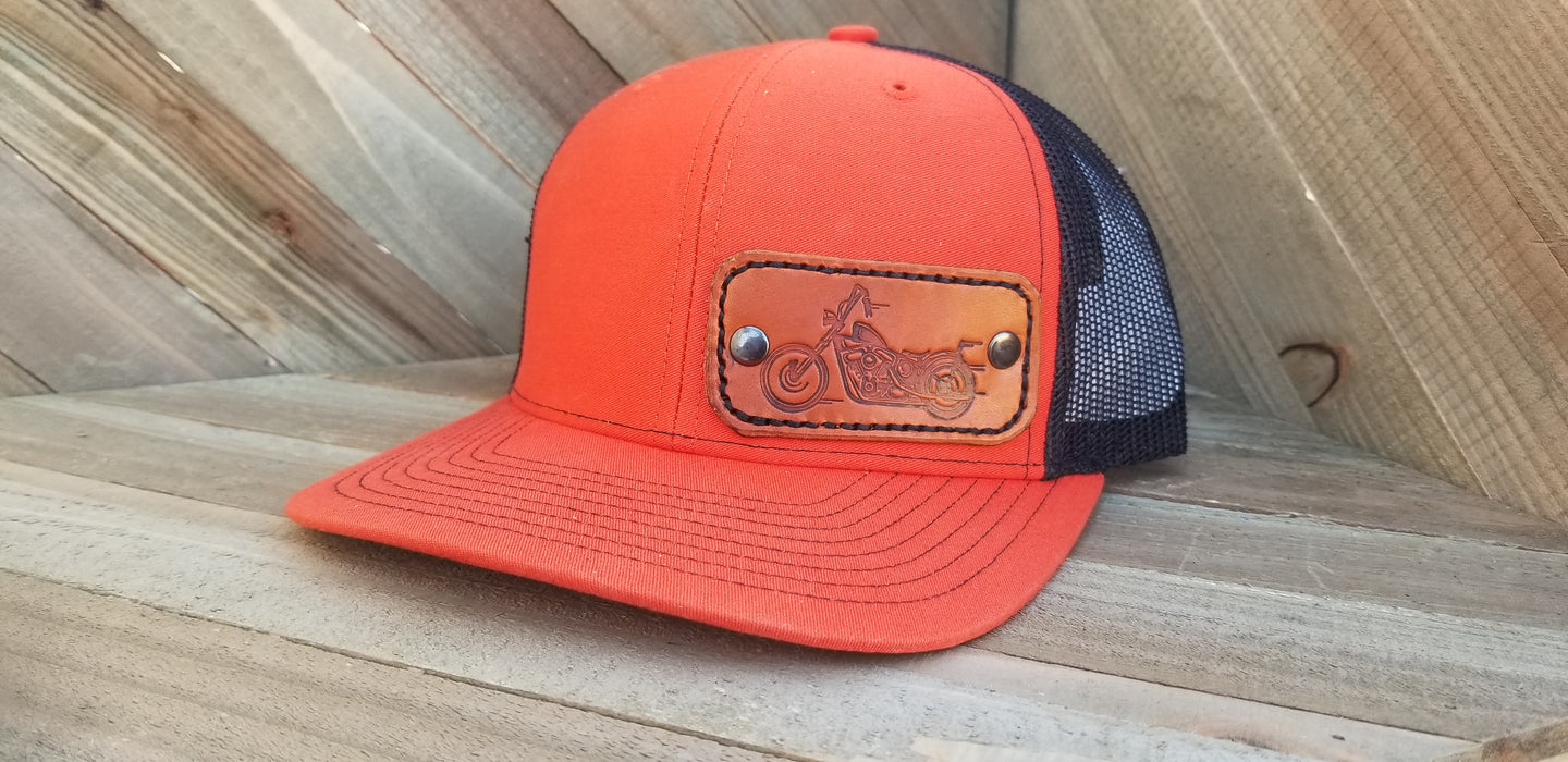 Orange/Black with leather motorcyle patch