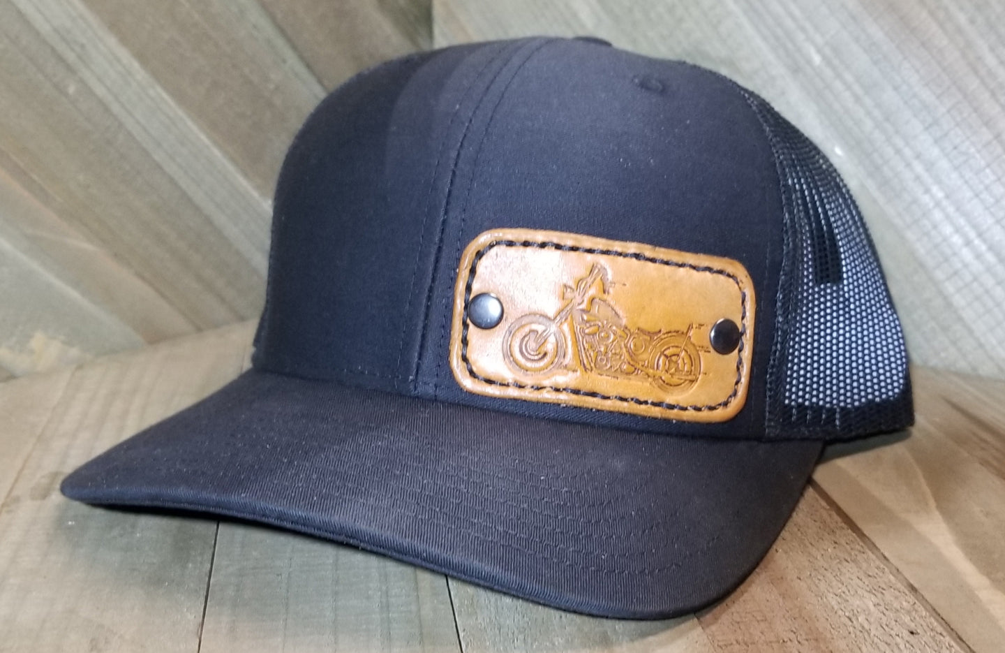 Black Hat with leather motorcyle patch
