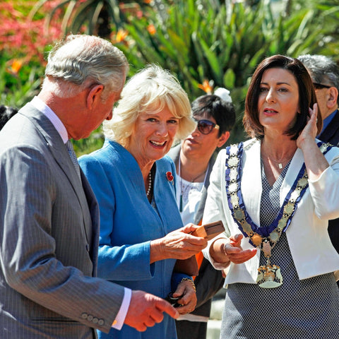 The Duchess of Cornwall accepts The Golden Kiwi from Nelson Mayor Rachel Reese