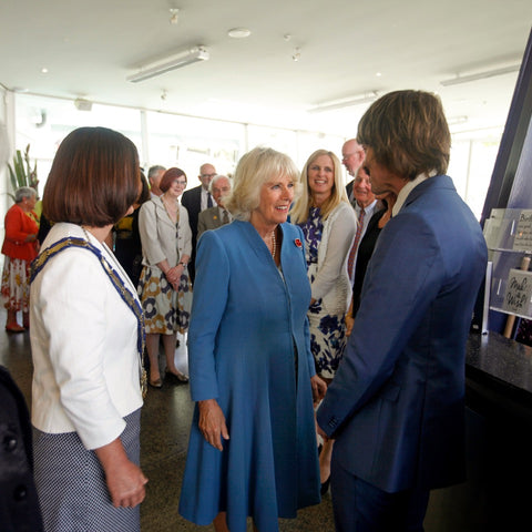 The Duchess of Cornwall with Halfdan Hansen and the Nelson Mayor Rachel Reese