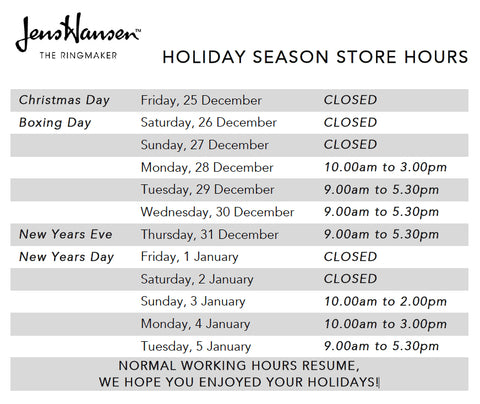 Jens Hansen 2015 2016 Christmas and New Years Holiday Opening Hours