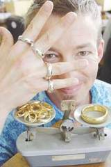 Halfdan Hansen with four platinum rings and a 24 carat gold replica of Sauron's ring