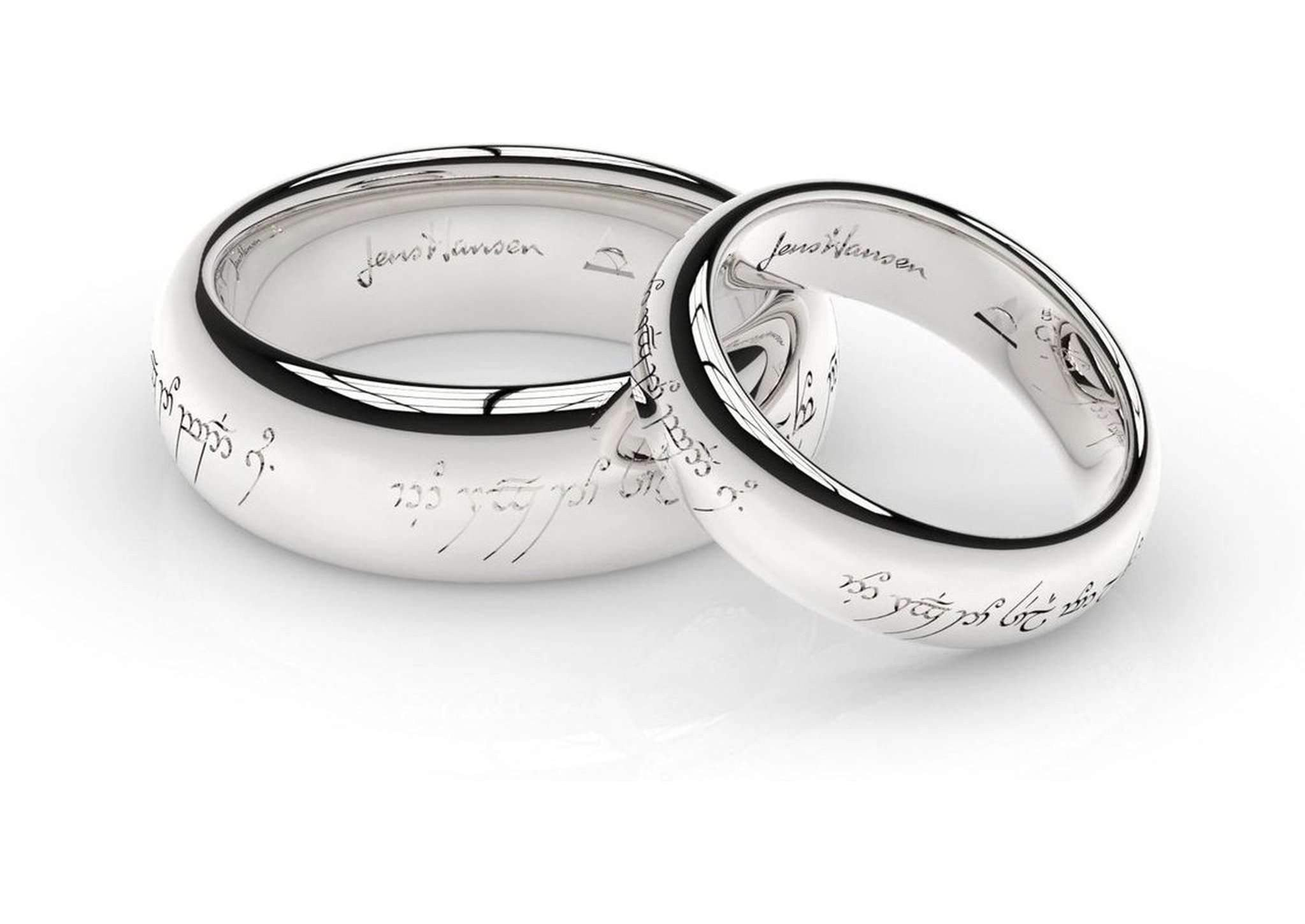 This is a picture of Elvish Love Ring Set in White Gold and Platinum
