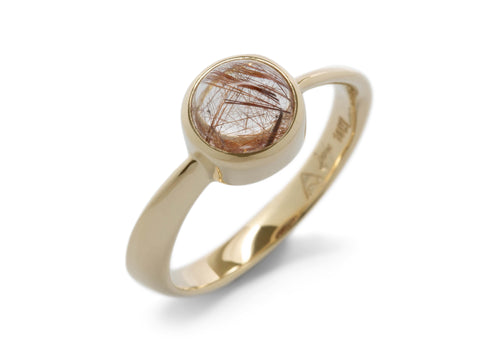Round Cabochon Gemstone Möbius Twist Ring, Yellow Gold