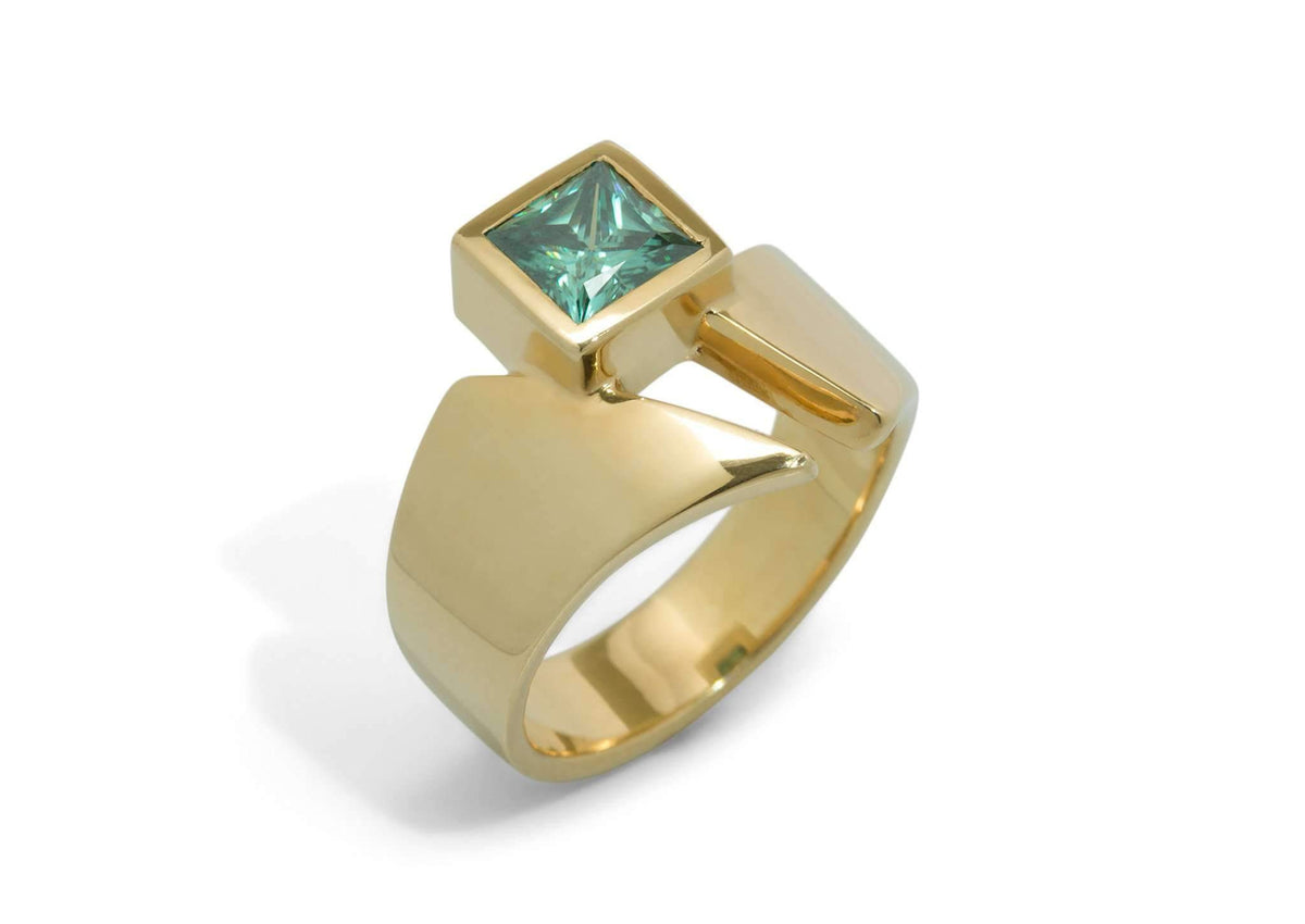 Classic Princess Cut Gemstone Ring, Yellow Gold