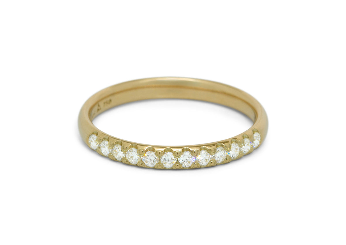 Diamond Wedding Band, Yellow Gold