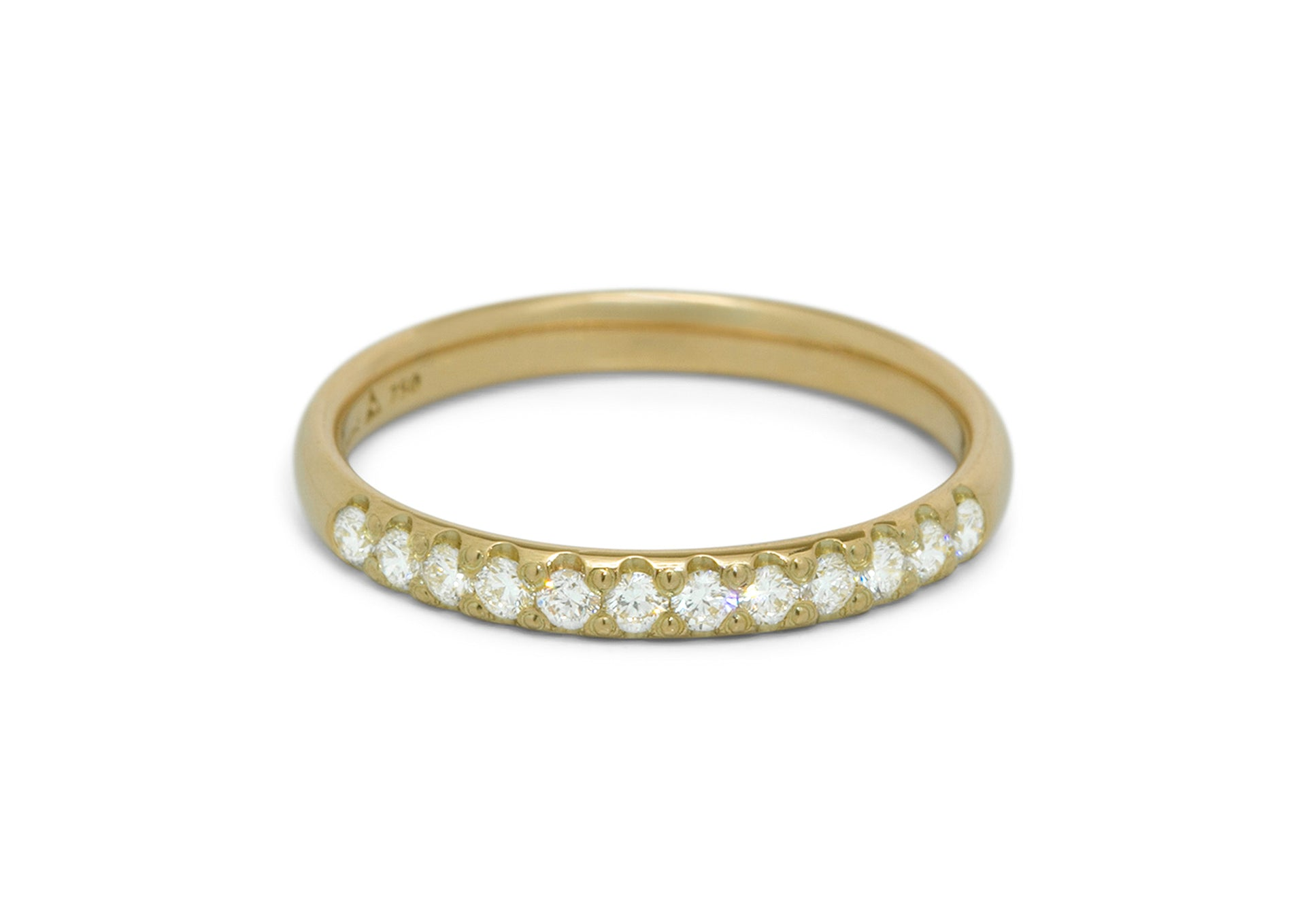 Pave Diamond Wedding Band, Yellow Gold
