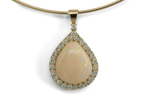 Opal and Diamond Pendant, Yellow Gold