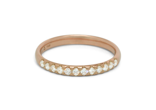 Pave Diamond Wedding Band, Red Gold