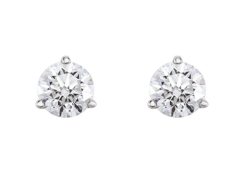 Three Prong Diamond Studs, Platinum