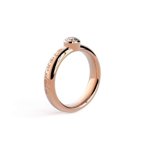 4mm Stone Modern Elvish Engagement Ring, Red Gold   - Jens Hansen