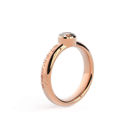 5mm Stone Modern Elvish Engagement Ring, Red Gold   - Jens Hansen