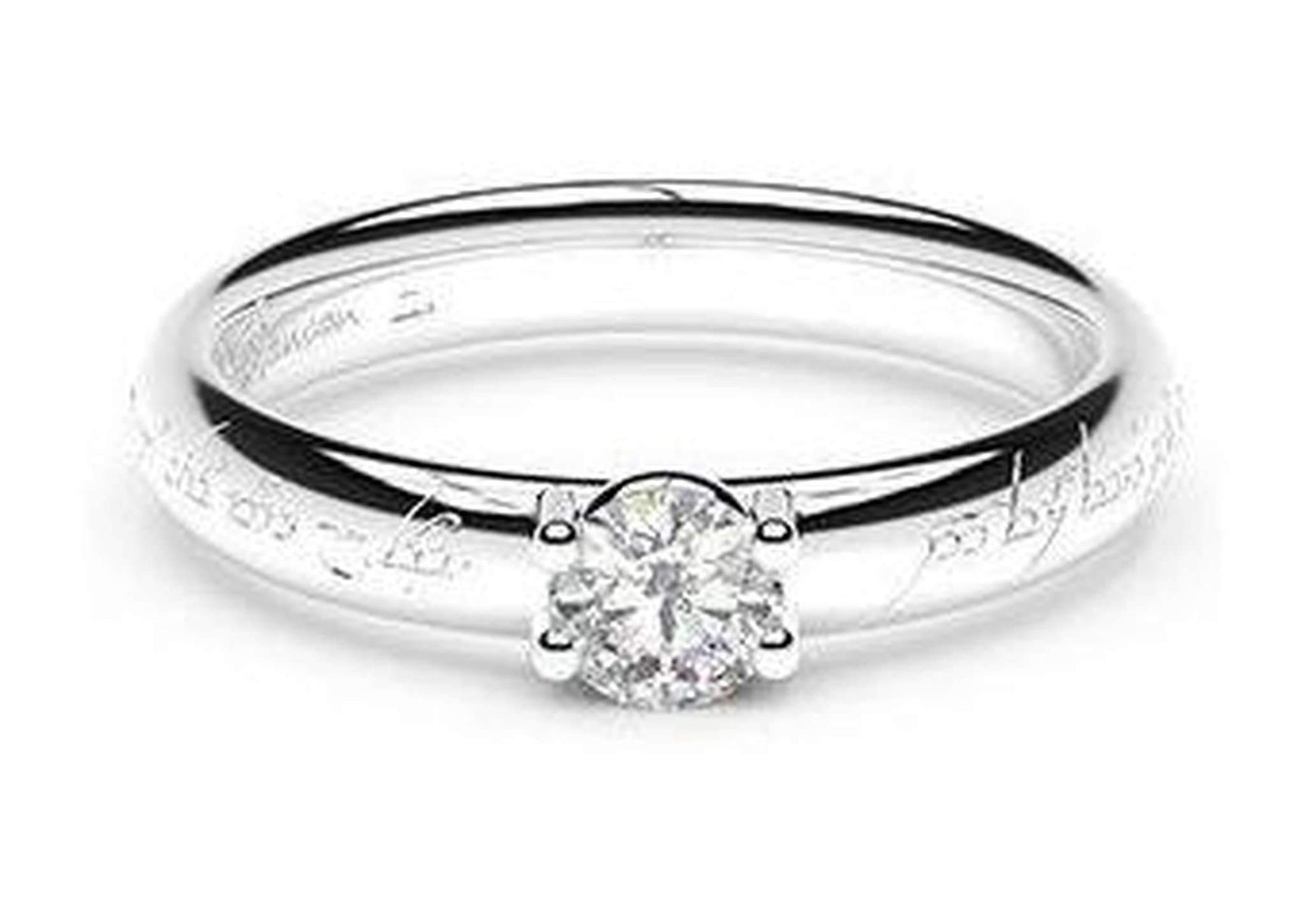 Petite Contemporary Elvish Engagement Ring, ~.33ct  Palladium